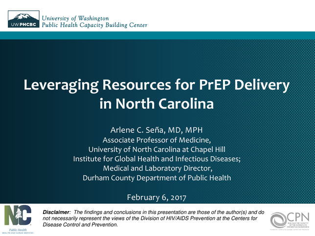 Leveraging Resources for PrEP Delivery in North Carolina