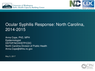 Ocular Syphilis Response: North Carolina, 2014-2015