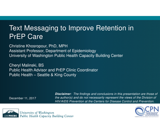 Text Messaging to Improve Retention in PrEP Care