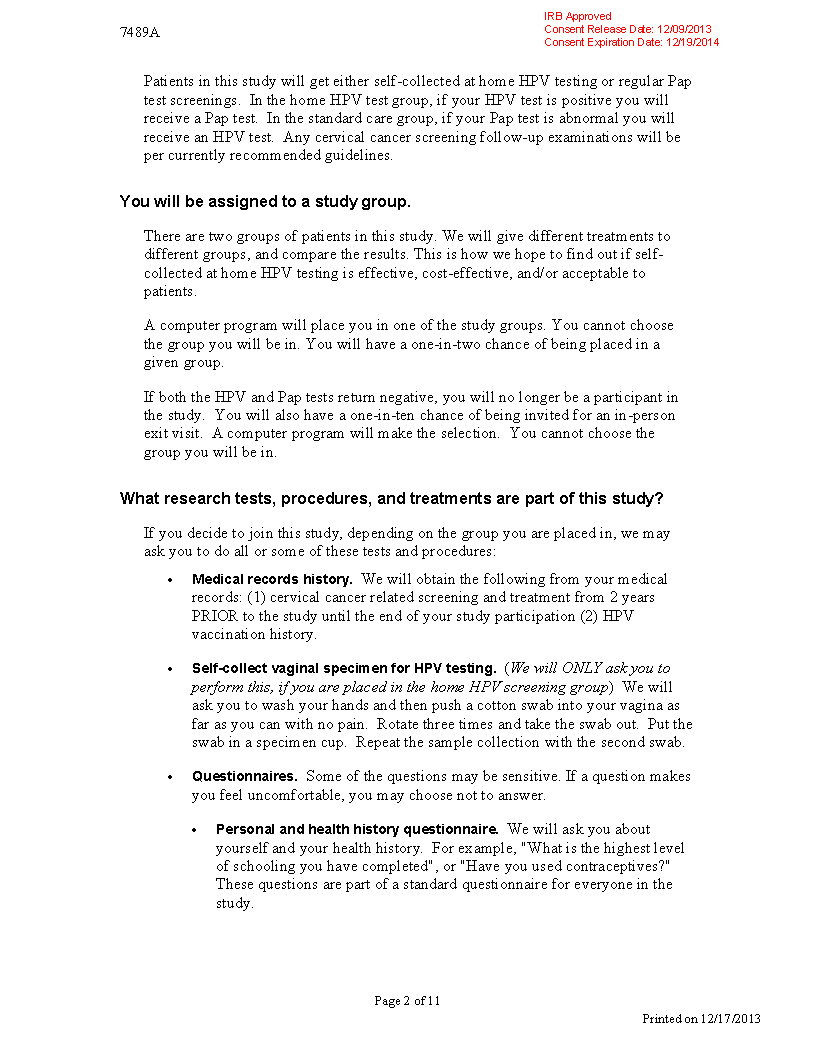 UW Home HPV or Pap Exam Study Informed Consent Form – Medical Records Release Form Example