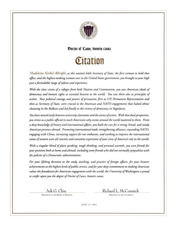 the university of washington  honorary degrees