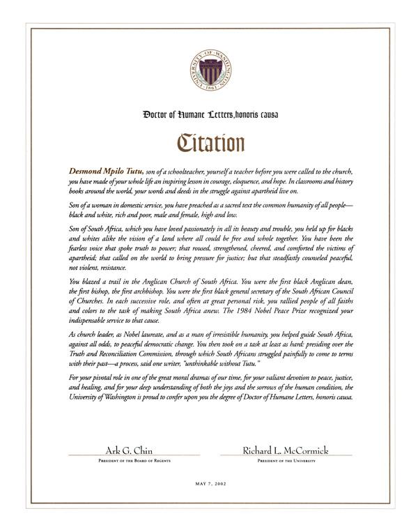 The University of Washington: Honorary Degrees