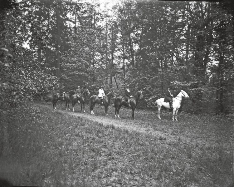 men on horses lined up