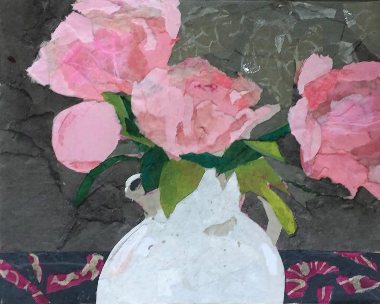 collage of pink flowers in vase