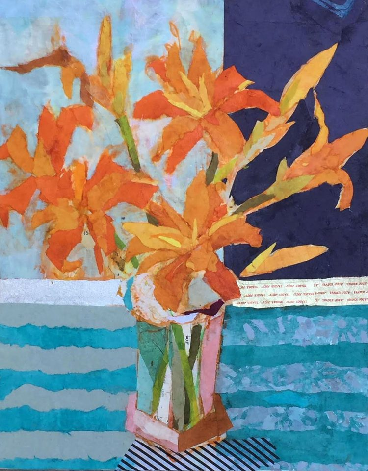 collage of orange flowers in vase