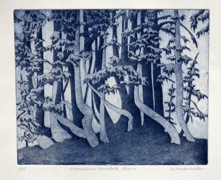 stylized hemlock grove in shades of indigo