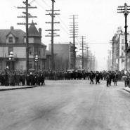 Crowds gather at the intersection of 7th and Union on February 6, 1919, the first morning of the strike.