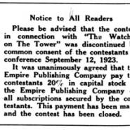 """Contest Discontinued,"" September 29, 1923"