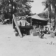 Camp of family with nine children who have been on the road for three years.