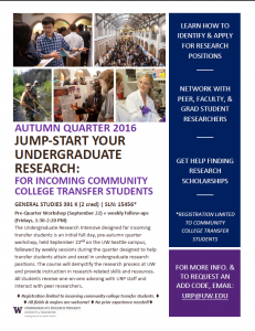 Transfer students – jump start your research!