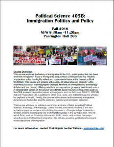 Course for fall quarter: Pol S 405B – Immigration Politics and Policy