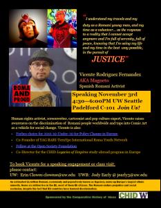Spanish Romani Activist, Vicente Rodriguez Fernandez to speak at UW – Nov. 3