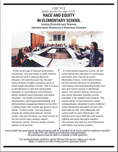 Race and Equity in Elementary School – EDUC 401 B for winter quarter