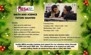 Seattle MESA is looking for math and science tutors for Winter quarter