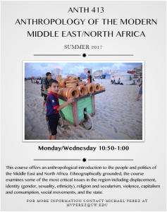 Summer course: Anthropology of Modern Middle East/North Africa