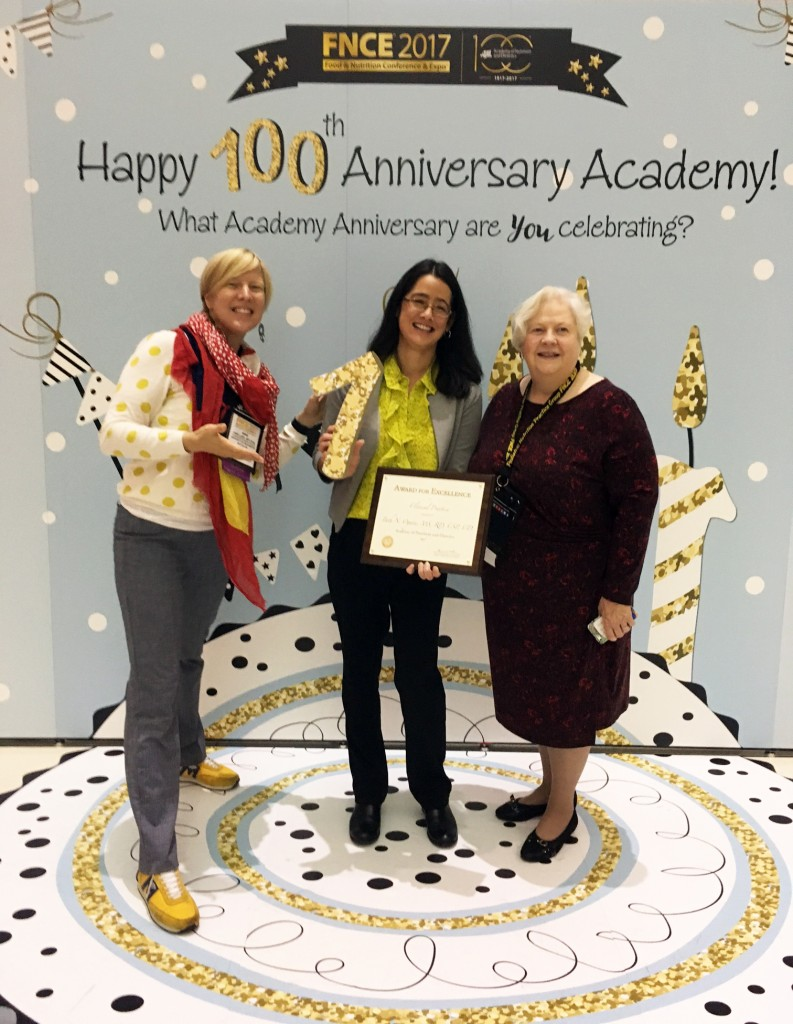 University of Washington Practitioners Anne Lund, Beth Ogata & Sharon Feucht pose with the Excellence in Practice Award at the 2017 Food & Nutrition Conference & Expo in Chicago, IL.