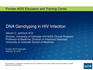 DNA Genotyping in HIV Infection