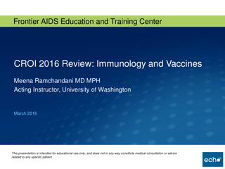 CROI 2016 Review: Immunology and Vaccines