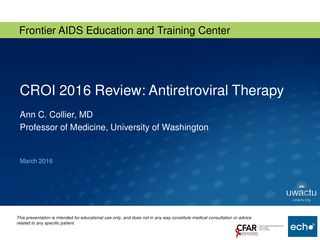 CROI 2016 Review: Antiretroviral Therapy