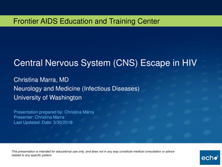 Central Nervous System (CNS) Escape in HIV