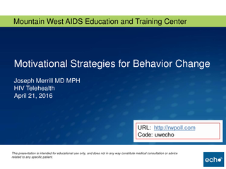 Motivational Strategies for Behavior Change
