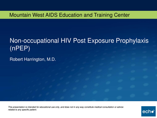 Non-occupational HIV Post Exposure Prophylaxis (nPEP)