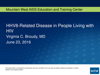 HHV8-Related Disease in People Living with HIV
