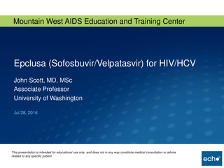 Epclusa (Sofosbuvir/Velpatasvir) for HIV/HCV