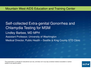 Self-collected Extra-genital Gonorrhea and Chlamydia Testing for MSM