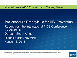 Pre-exposure Prophylaxis for HIV Prevention Report