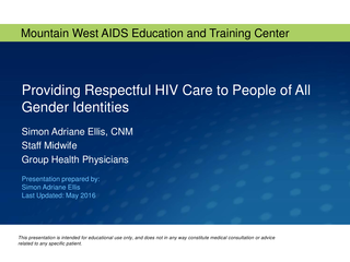 Providing Respectful HIV Care to People of All Gender Identities