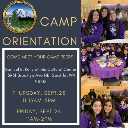 """Image description: Flyer promoting UW CAMP's Orientation for Cohort 12 reading, """"Come meet your CAMP peers! Samuel E. Kelly Ethnic Cultural Center, 3931 Brooklyn Ave NE, Seattle, WA 98105."""" On the right are 3 images of CAMP Scholars enjoying a meal together."""