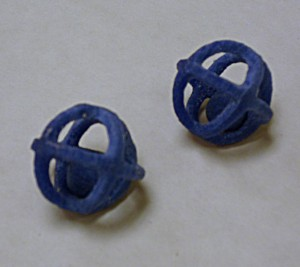 Two Caged Spheres in Vitraglyphic Glass