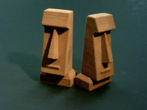 Two Ceramic Cubist Style Moai