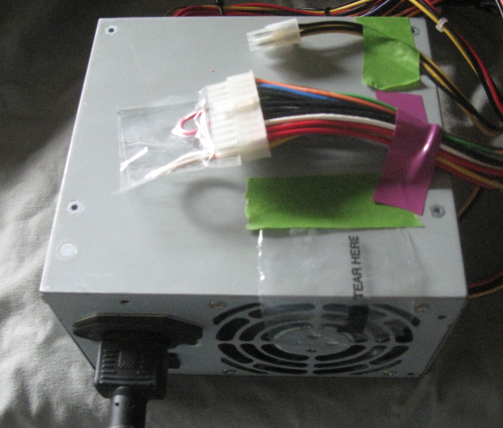 Jumping A Power Supply For 12 Volts Dc Cable Connectors Wiring Harness Diagram Wrap Clear Tape Around The Wires So They Dont Fall Out This Preserves Other Uses Plastic Sheet Is Taped Down Near Fan To