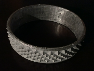 A simple example of a complex surface cast in aluminum from a parametric model