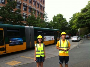 Summer interns Jinglan Wang and Kevin Yang on the UW campus in Seattle