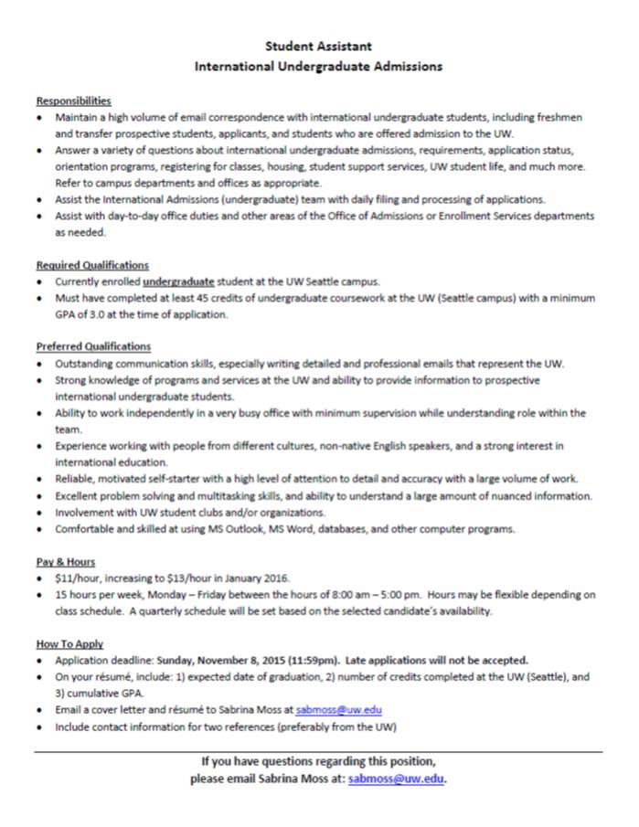 Student Assistant job posting Nov 2015