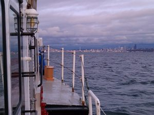View from the rail of R/V Barnes