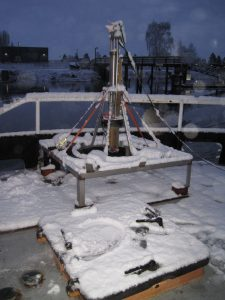 The craib corer shown on the deck of R/V Barnes covered in snow