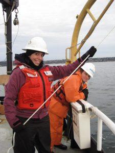 Researcher on deck of R/V Barnes