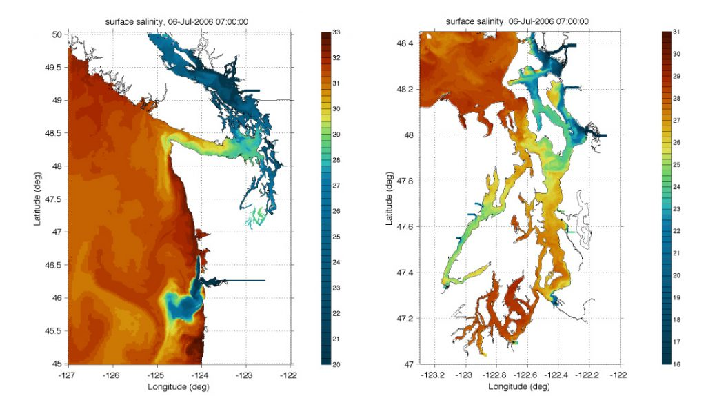 A graphic showing the oceanographic model of Puget Sound and surrounding waters