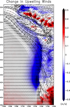 Map with contours showing the streamlines for the current summertime surface winds
