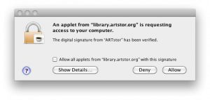 ARTstor applet window that appears when downloading individual images