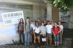 Art 496 students and instructors in front of Troy Gua's Mad Home installation; photo by Alison Milliman
