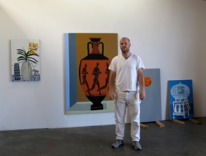 Jonas Wood in his studio, 2011; courtesy of the artist