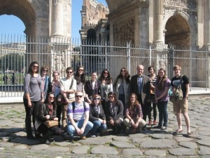 Levi Higgs (standing 4th from left) with 2011 Art History Seminar in Rome group; image courtesy of Levi Higgs