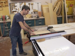 John Martin, Wood Shop Instructional Technician, using SawStop table saw purchased with funds from the Ingham Fund for Excellence in 2009; photo by Jeanette Mills, 2-2012
