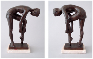 Balerina Tying Slipper by Everett DuPen; bronze on marble base; from Sisko Gallery website