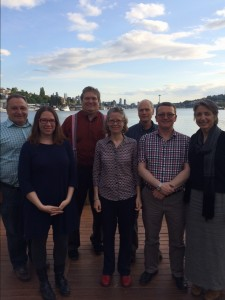 UW AAUP board members meet in Seattle with national AAUP representatives, April 2015. Left to right: Duane Storti, Dawn Tefft, Howard Bunsis, Julie Schmid, Bert Stover, Rob Wood